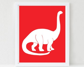 Dinosaur Nursery, Wall Art, Apatosaurus, Nursery Decor, Kids Wall Art, Baby Shower Decor, Choose Your Custom Color