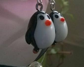 """""""Penguin"""" black and white earrings"""