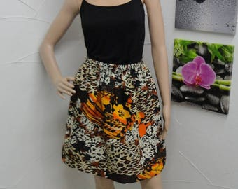 Skirt was Leopard with flowers pattern
