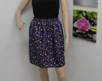 Skirt in cotton-polyester flowers with elastic waist