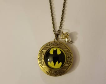 Handmade Batman Locket Necklace and Charm