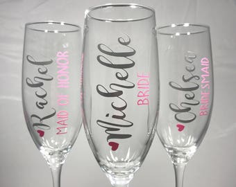 Wedding Party Champagne Flutes