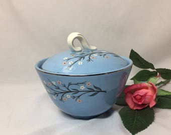 Covered Sugar Bowl - Homer Laughlin Skytone Bluemont flowers