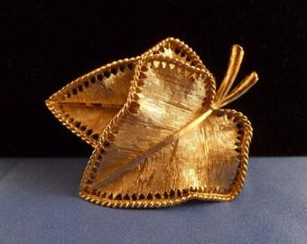 Vintage Gold BSK Leaf Brooch