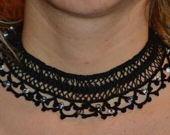 Hairpin lace crochet black chocker