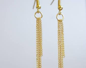 Gold dangling earrings * gold cascade *.