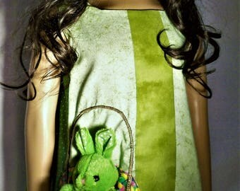 Green Bunny in its Basket dress
