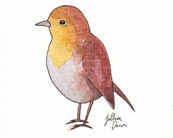 4x5 Original Bird Watercolor