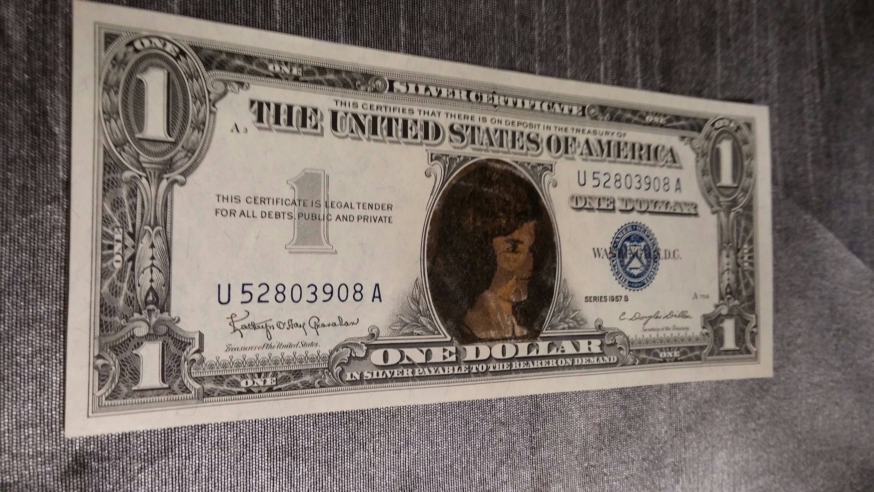 1957 b blue seal one dollar bill silver certificate jackie 1957 b blue seal one dollar bill silver certificate jackie kennedy onassis portrait overlay xflitez Images