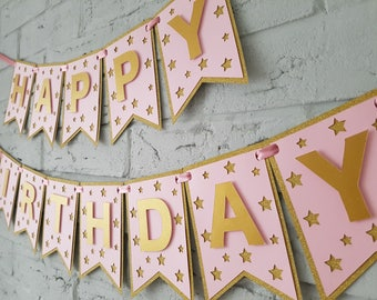 Birthday banner personalized. Birthday decorations girl. Happy birthday banner. Personalized birthday banner. Pink and gold birthday banner.