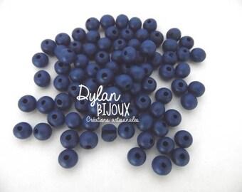 25 ⌀ 8 mm Navy blue wooden beads