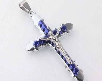 Blue chrome metal cross pendant