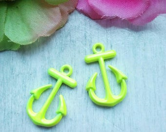 LOT 2 ANCHORS NAVY BLUE METAL CHARMS/PENDANTS