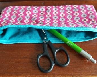 turquoise/fuschia school pencil case or makeup pouch