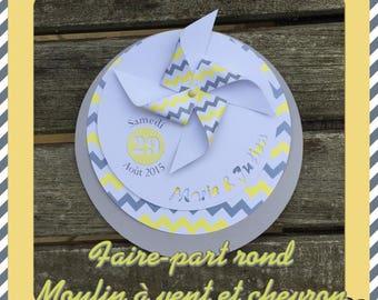 Wedding invitation, chevron and windmill wind chic retro theme