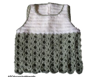 A top, t-shirt, tank top, crochet for baby. Birthday gift.