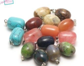 "set of 10 gemstone pendants ""18 x 13 mm Pearl"", assorted"