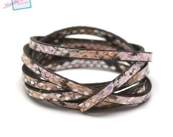 "1.2 m fancy 5 mm double leather strap ""tortoiseshell No. 5"", pink beige"