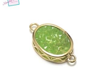 """1 connector oval gemstone """"green agate 22 x 12 x 5 mm"""", gold"""