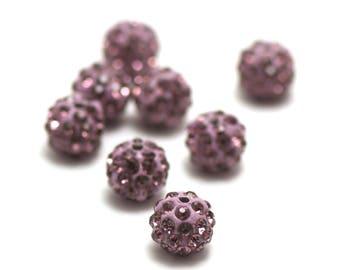 4 10 mm lilac rhinestone shamballa beads