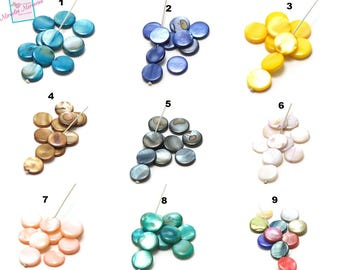 """10 natural Pearly pearls tinted """"quoits"""" 11.5 mm, 9 colors to choose from"""