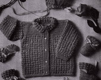 Baby Sweater Set Vintage Crocheted Baby Set Booties Mittens Jacket  Pattern *PDF Instant Download*