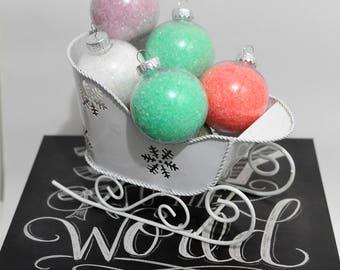 ornament bath salts, bath salts, Christmas bath salts, relaxing bath salts, scented bath salts, party favour bath salts