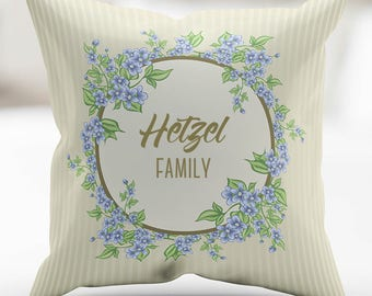 Personalized Easter Flower Wreath Violets Print Pillow Cover 18 x 18 Inches