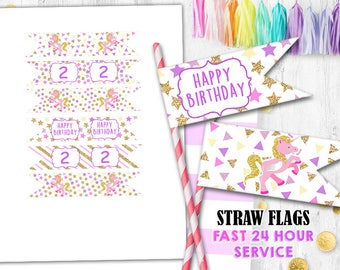 Unicorn Straw flags Cupcake toppers Pink Glitter Gold Confetti toppers Straw flags Cake toppers
