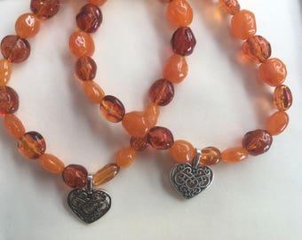 Lovely Orange Beaded Bracelet