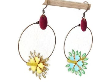 Earrings - hoop earrings charms associated with faceted glass and a sequin pink enamel beads