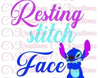 Resting Stitch Face SVG DXF PNG