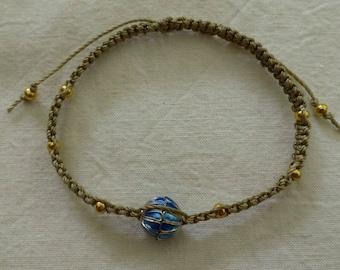 Bracelet macrame and cloisonné bead