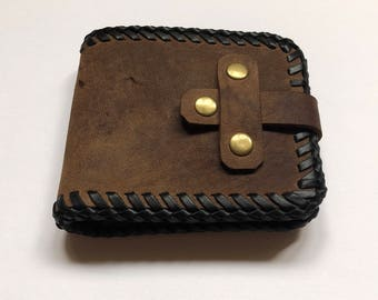 Hand made leather wallet with kangaroo leather lace