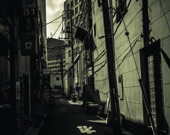 Street photography print travel photo tokyo japan black and white photographic print