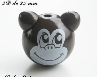 25 mm wooden bead, Pearl 3D monkey: brown / white