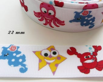 22 mm seahorse Octopus crab star white grosgrain Ribbon sold by 50 cm