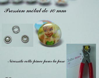 Set of 5 / 5 pressures metal 10 mm (20 pieces): Tinkerbell
