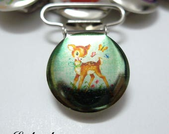 1 strap clip, attach pacifier & blanket background landscape, Fawn, Bambi