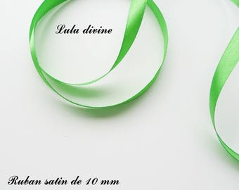 10 mm, sold in 2 metres satin ribbon: Green