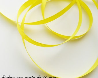 Ribbon 10 mm, sold in 2 meters grosgrain: yellow
