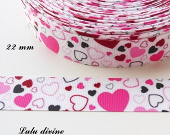 Black fuchsia heart white grosgrain Ribbon pink clear 22 mm sold by 50 cm