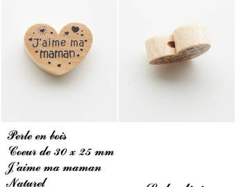 30 x 25 mm wooden bead, Pearl flat heart, I love my Mom: natural