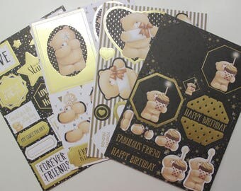 sheets of Die cut / cut-out 3D bears with gold foiling
