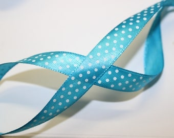 Blue sash with white dots 1.3 cm wide