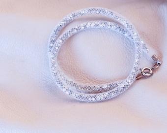Double Wire Bracelet white FishNet tubular