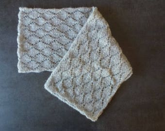 Grey Alpaca/silk stitch openwork diamond handmade knit scarf