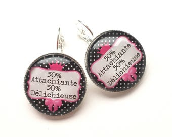 "Earrings original & unique ""Attachiante and Delichieuse"" personalized, fun, humour, heart, bow, black, pink"