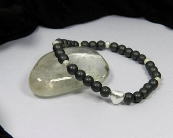 Bracelet from frosted Hämatin with Silver Heart | | Ladies