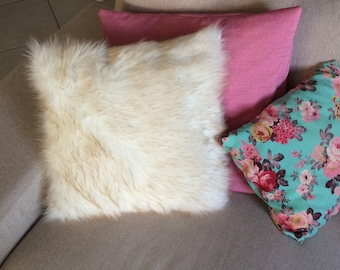 Off white fur pillow cover